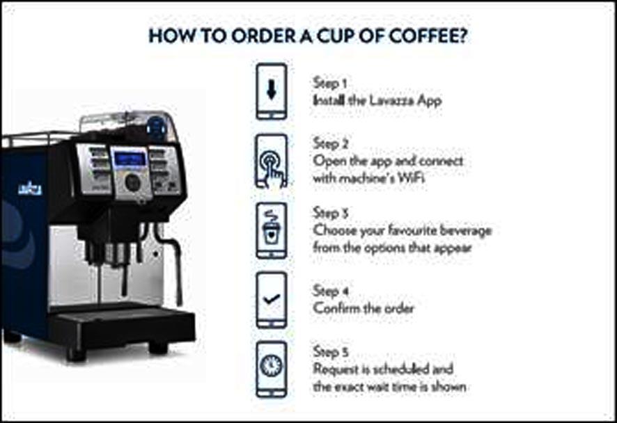 Système de distribution de café sans contact de Lavazza avec l'aide de l'application